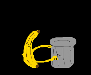 Banana with glasses punching garbage can
