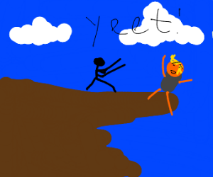 donald trump yeeted off a cliff