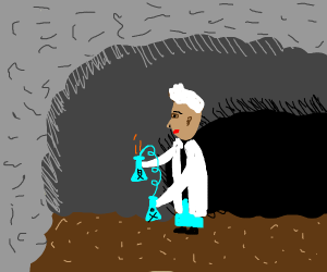 scientist in a cave