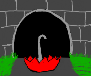 A red umbrella outside of a tunnel