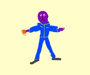 Purple Man Blue Suit Yellow Trim Orange Glove