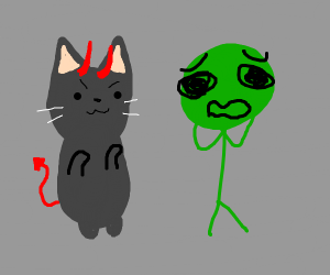 demon cat begins eating terrified green man