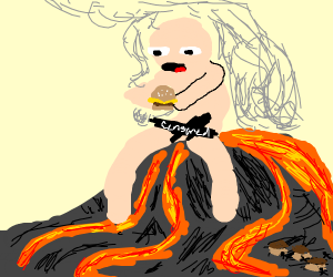Naked guy eating a cheeseburger with a volcan