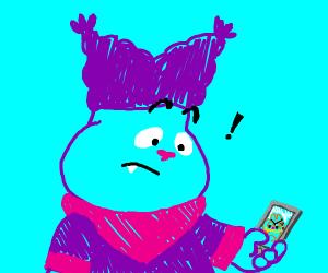 Chowder (Chowder) alarmed by angry cat emoji.