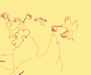 Chickens doing semaphore signals
