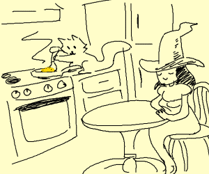 Witch patiently waits for her scrambled eggs
