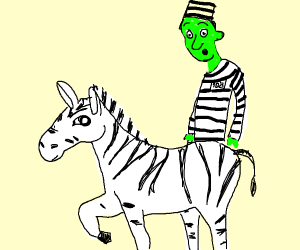 Zebra Escapes Jail with Tall Green Man
