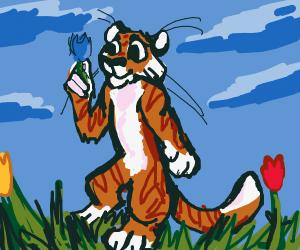 Tiger tiptoes thru totin' tulips.