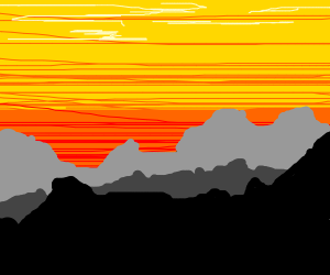 Mountain range and a sunset