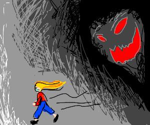 Woman running for her goddamn life