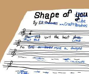 Minecraft parody song sheet