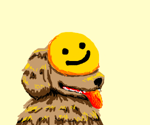 Dog with smiley face emoji on its face