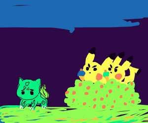 Two pikachus with ice cream stalk bulbosaur