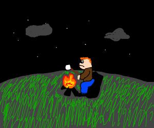 Camper roasting marshmallows