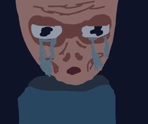 Sad alien crying