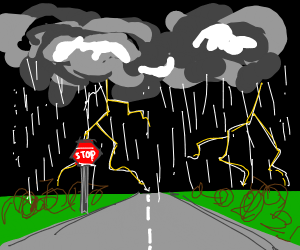 Stop Sign in a Storm