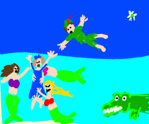 Peter pan trys to save Wendy from drowning