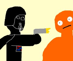 Why is Darth Vader shooting Orange Blob Man?
