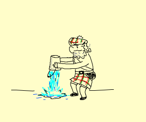 Scotland dumping water out of a bucket