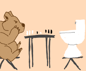 Bear playing chess with a toilet