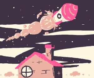 Rocket flies over house