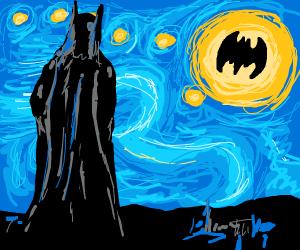 Batman looking@starry night but a bat signal