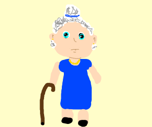 A sweet little old granny with cane