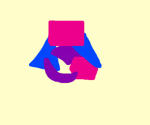 Abstract art with Blue and pink shapes