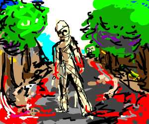 mummy walks across the boulevard of dead mem