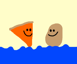 Pizza and potato on the ocean