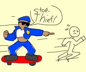a police on a skateborad chaesing a thef