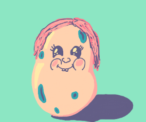 Potato with pink hair