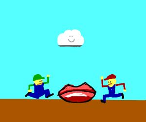 Mario and Luigi with lips