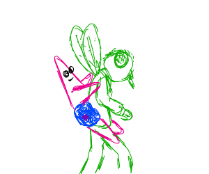 Patrick Star riding a green fly man