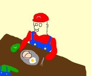 Mario eats luigi for breakfast