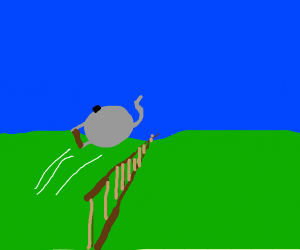 A teapot jumping over a fence
