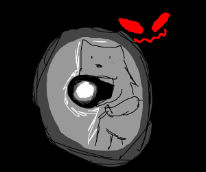 Scared dog with flashlight