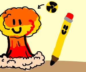 happy atomic bom explodes next to happy penci