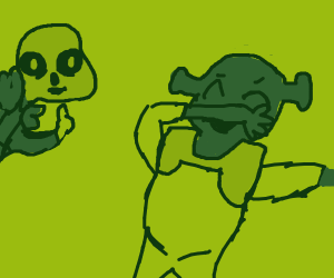 Sans approves of Shrek dabbing.