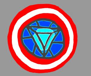 Captain America shield with iron man heart