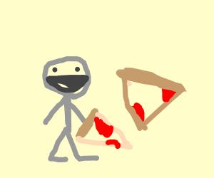 Gray fella loves his pizza