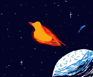 Fire duck flies past a blue moon
