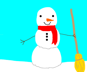 Snowman holding a broom