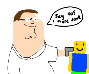 Peter Griffin points gun at roblox noob (OOF)