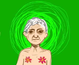 elderly man with flower nipples
