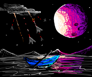 A rowboat in the middle of a space war