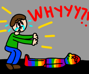 guy is yelling over his dead rainbow friend