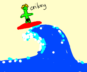 Alien being groovy and all riding a wave