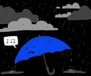 upset blue umbrella sings in storm