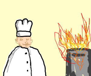 Fat cook's oven is on fire